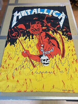 VINTAGE 80s 90s ORIGINAL ROCK METAL POSTER FLAG METALLICA SHOP STOCK • 125£