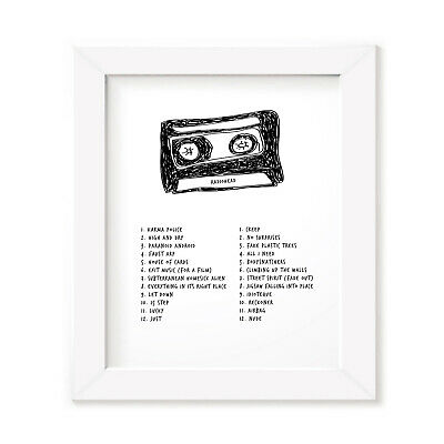 Radiohead Mixtape Poster, Framed Original Art, Singles Album Print Lyrics Gift • 31.99£