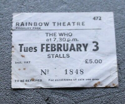 The Who 1981 Faces Dances Original Rainbow London Concert Ticket • 18£