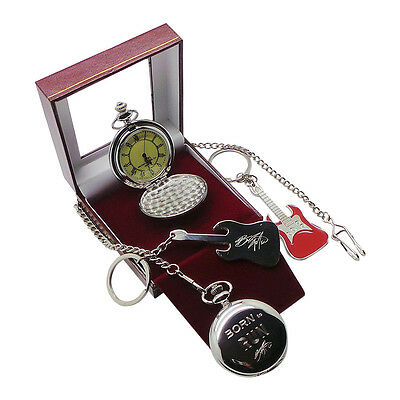 Signed BRUCE SPRINGSTEEN Pocket Watch With Chain And Red Electric Guitar Keyring • 29.99£