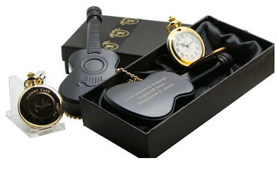 JOHNNY CASH Signed Gold Pocket Watch And Personalised Guitar Hip Flask Engraved • 39.95£