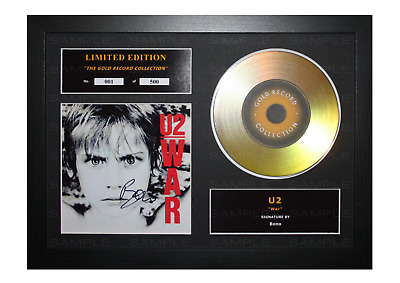 U2 Signed Gold Disc Album Ltd Edition Framed Picture Memorabilia • 14.99£
