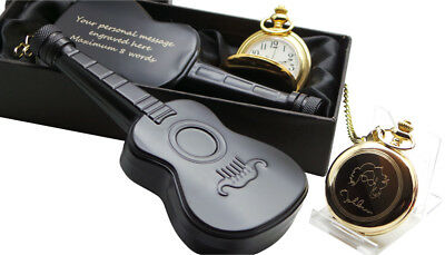 JOHN LENNON Signed GOLD Pocket Watch And ENGRAVED Personalised Guitar Hip Flask • 44.95£