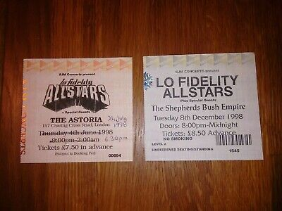 Lo Fidelity All-stars 24th July & 8th December 1998 London Concert Tickets VGC • 40£