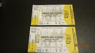 2 X Unused U2 Concert Stubs. Hampden Park Glasgow 21/06/05 Mint Condition • 2.99£