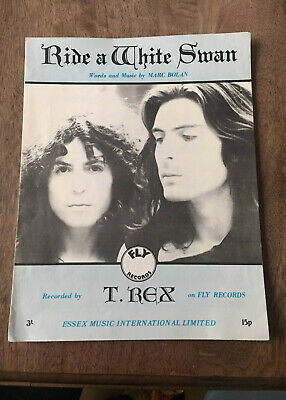 MARC BOLAN RIDE A WHITE SWAN Sheet Music T.Rex 1971 Essex Music Int. Fly Records • 17.50£