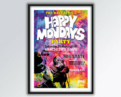 HAPPY MONDAYS GMEX Party 1990 REIMAGINED Poster A3 Size. • 14£