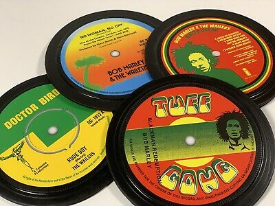 Bob Marley. 4 Vinyl Record Label Coasters. Natty Dread. No Woman No Cry. Reggae • 11£
