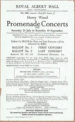 1959 Royal Albert Hall, Henry Wood Prom Concert Advertising Flyer • 5.99£