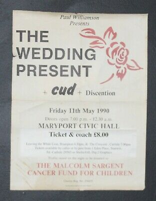 The  Wedding Present & Cud Early 1990 Maryport Original Concert Poster • 30£