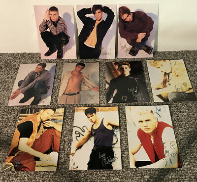 SIGNED Take That Robbie Williams 1992 Set Of 10 Postcards Autographs Fan Club • 34.99£