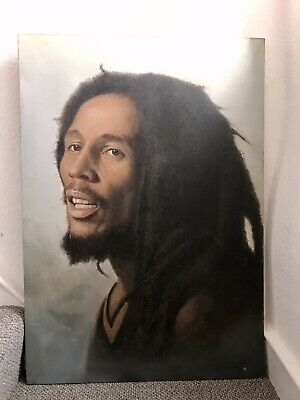 "Vintage Oil Painting Bob Marley Original Linen / Canvas Signed 27.1/2 X 39.1/2 "" • 40£"