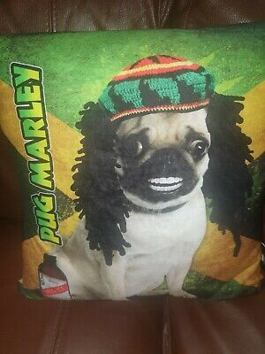 Pug Marley Jamaican/Caribbean Red Stripe Beer Cushion ~ Brand New  • 14.99£