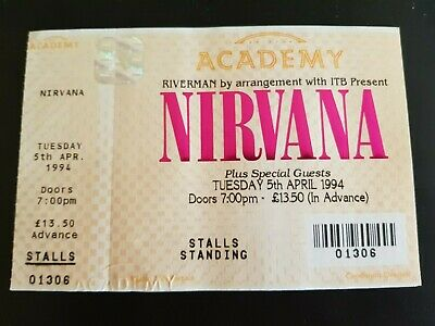 Nirvana (stalls Standing) Ticket tuesday 5th April 1994 Pristine Condition • 135£