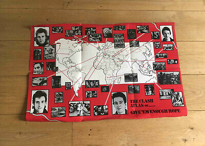 "The Clash Genuine 1978 UK ""Give Em Enough Rope""  Double Sided Punk Poster • 399.99£"