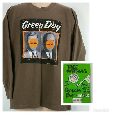 Vtg GREEN DAY 1998 Nimrod Official Concert Tour Tshirt L/S Large & RARE Pass • 128.74£