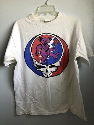 Grateful Dead 1995 GDM ONEITA T Shirt L Deadhead Bear Rose Jerry Garcia Face • 43.71£