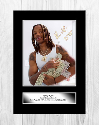 King Von 1 A4 Reproduction Autograph Picture Poster With Choice Of Frame • 19.99£