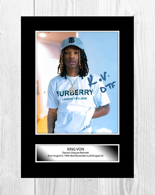 King Von 2 A4 Reproduction Autograph Picture Poster With Choice Of Frame • 19.99£