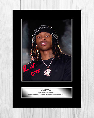 King Von 3 A4 Reproduction Autograph Picture Poster With Choice Of Frame • 6.95£
