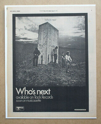 THE WHO ORIGINAL ADVERT (not Reproduction) For The Band's 1971 Album Who's Next • 15£