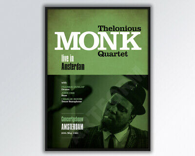 THELONIOUS MONK QUARTET Live In Amsterdam Reimagined Poster A3 Size. • 14£
