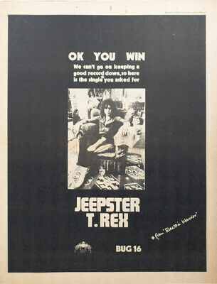 T.REX / MARC BOLAN ORIGINAL ADVERT (not Reproduction) For 1971 Single 'Jeepster' • 25£