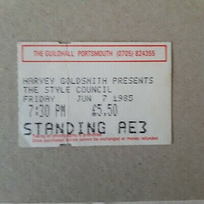 THE STYLE COUNCIL Concert Ticket Stub - Portsmouth Guildhall - Fri 7th June 85 • 8.99£