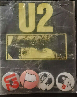 Set Of 4 Button Badges In Original Packet From U2 1982/83 War Tour - UNOPENED • 50£