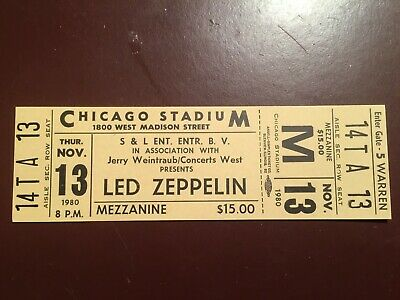 Led Zeppelin Unused Original Ticket For Chicago 1980 Cancelled Show • 18.99£