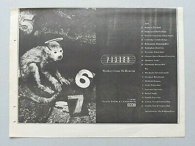 Pixies Monkey Gone.. Live Tour  4ad Original Uk A4 (approx) Advert Trade Ad # • 5.99£