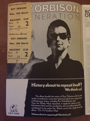 Roy Orbison UK Tour Programme 1977/78 With 2 Tickets VG Condition • 10£
