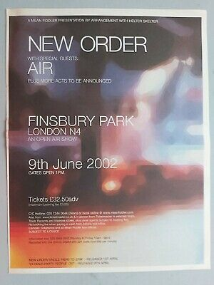 New Order Air Finsbury Park  Live 2002 Original Trade Advert / Poster • 7.99£