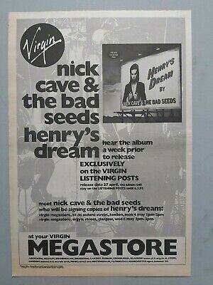 Nick Cave Henry's Dream  Original Trade Advert / Poster • 7.99£