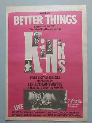 The Kinks Better Things Original Trade Advert / Poster • 7.99£