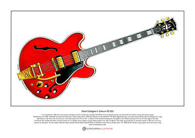 Noel Gallagher's 1960's Gibson ES-355 Limited Edition Fine Art Print A3 Size • 18.50£