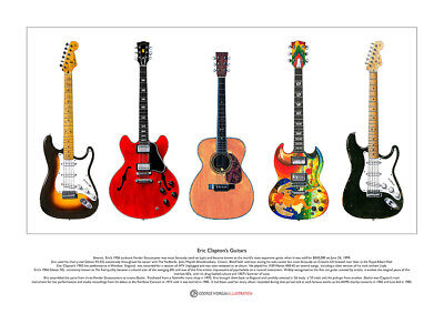 Eric Clapton's Guitars Limited Edition Fine Art Print A3 Size • 18.50£