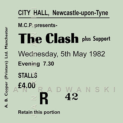 The Clash /Joe Strummer Concert Coasters May 1982 Ticket High Quality Coaster  • 4.50£