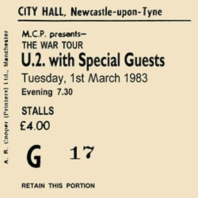 U2 Concert Coasters Ticket March 1983 High Quality Mdf • 4.50£