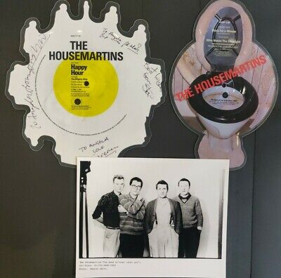 The Housemartins Signed 'Happy Hour' Picture Disc + Picture Disc & Promo Photo • 60£