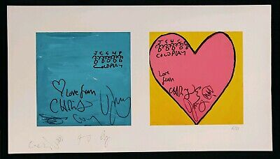 Coldplay Signed Ltd Edition Print 6/10  Blue Square Pink Heart  With COA • 1,500£