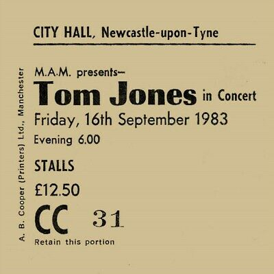 Tom Jones Concert Coaster Newcastle City Hall September 1983 Quality Coaster • 4.50£