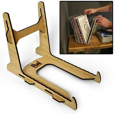 Vinyl Record Storage Holder Display Rack Stand, 25-50 Records, Real Oak Veneer • 16.99£