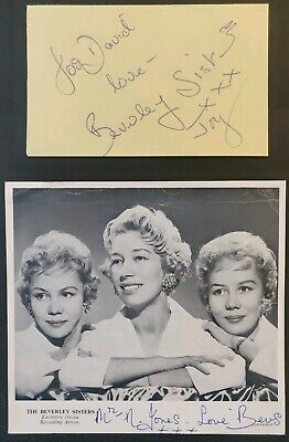 The Beverley Sisters Signed Autograph Page With COA + Signed Promo Card - Decca • 15£
