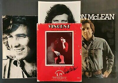 Don McLean Signed Sheet Music + Tour Programme & Photos (X2) • 45£
