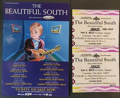 The Beautiful South UK Tour 1997 Flyer & Ticket Stubs From Glasgow (X3) • 15£