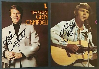 Glen Campbell Signed Album Sleeve Cut-Outs (X2) • 40£