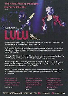 Lulu  All About The Music Tour 2017 Flyer • 0.99£