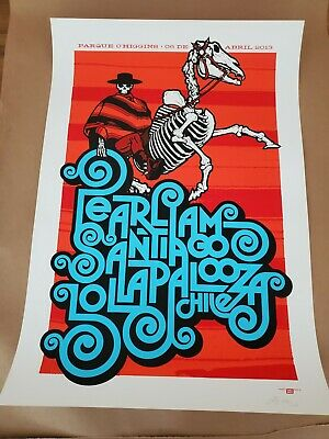 Pearl Jam Poster Print Lollapalooza Chile 4/8/13 Ames AP Edition Limited S/N  • 99.25£