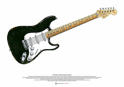 Eric Clapton's Fender Stratocaster 'Blackie' ART POSTER A2 Size • 27.50£